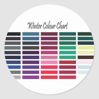 Winter Color Chart Round Stickers
