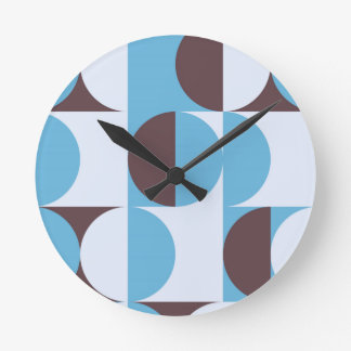 Winter colored 60ies retro circles round clock
