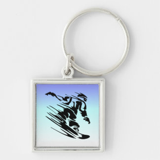 Winter Colors Fast Snowboarder Key Ring