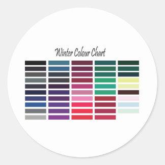 Winter Colour Chart Round Sticker