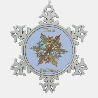 Winter Colours Metal Flake Snowflake Pewter Christmas Ornament