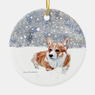 Winter Corgi Christmas Ornament