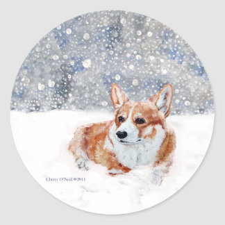 Winter Corgi Classic Round Sticker