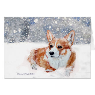 Winter Corgi Greeting Card