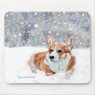 Winter Corgi Mouse Pad