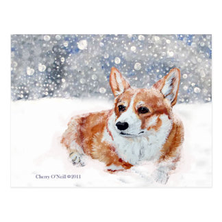Winter Corgi Postcard