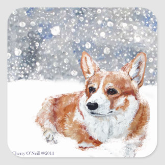 Winter Corgi Square Sticker