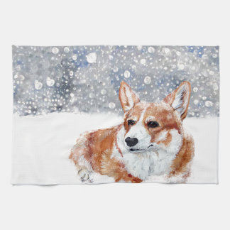 Winter Corgi Tea Towel