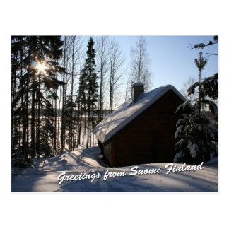 Winter Cottage in Finland Postcard