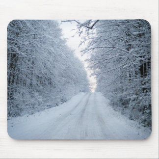 Winter Country Road Tree Scene Mouse Pad