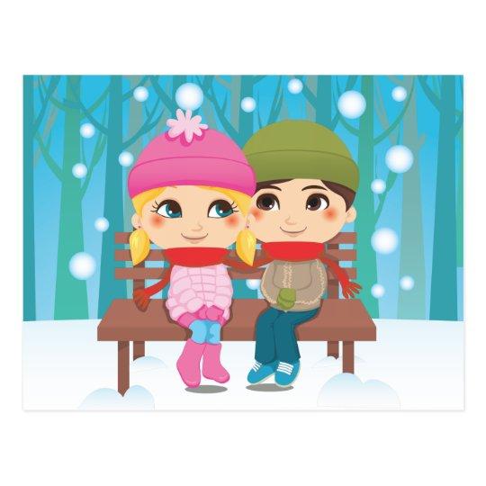 Winter Couple Postcard