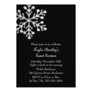 Winter Crystal Sweet 16th Birthday Invite black