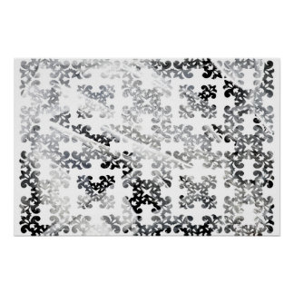 Winter Damask White Ice Posters