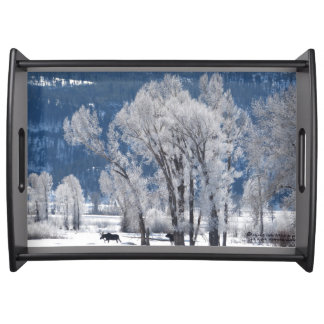 Winter day in Yellowstone - Mooses Serving Tray