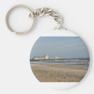 Winter day on Bournemouth beach Basic Round Button Key Ring