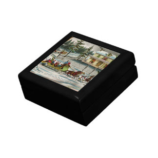 Winter Days Christmas scene Small Square Gift Box