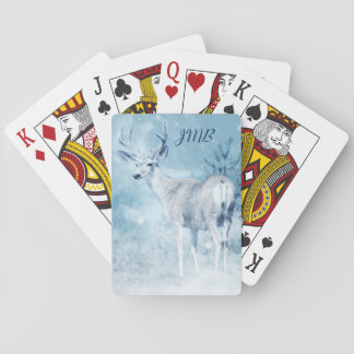 Winter Deer and Pine Trees Monogram Playing Cards