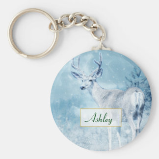 Winter Deer and Pine Trees Personalized Key Ring