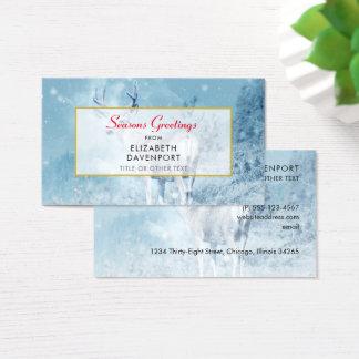 Winter Deer and Pine Trees Seasons Greetings Business Card