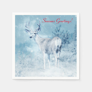 Winter Deer and Pine Trees Seasons Greetings Disposable Serviette
