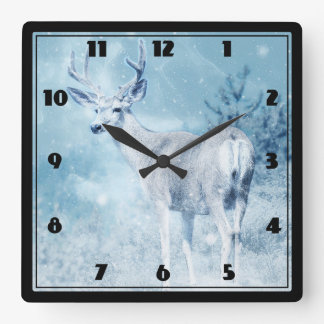 Winter Deer and Pine Trees Square Wall Clock