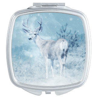 Winter Deer and Pine Trees Travel Mirrors