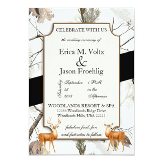 Winter Deer Camouflage Wedding Invitation