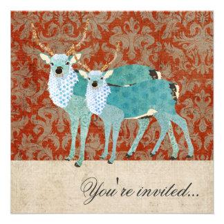 Winter Deer Damask Christmas Party Invitation