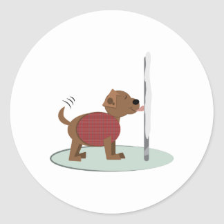 Winter Doggy Pole Round Stickers