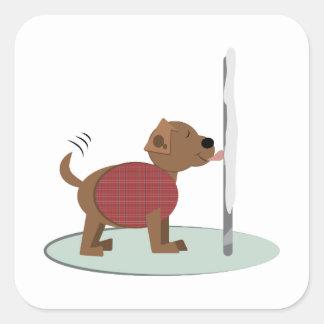 Winter Doggy Pole Square Stickers
