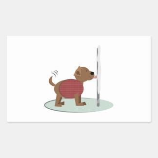 Winter Doggy Pole Rectangular Sticker