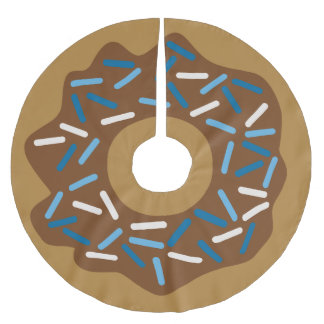 Winter Donuts with Blue Sprinkles Iced Chocolate Brushed Polyester Tree Skirt