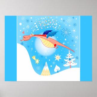 Winter Dragon Flying Through Snowflakes Poster