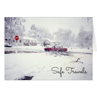 Winter Driving Vintage Red Car Safe Travels Snow Card