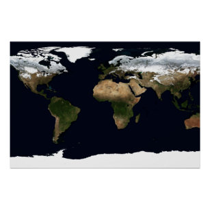 Winter Earth Geographical World Atlas Map Poster