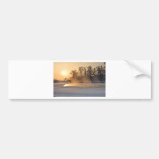 Winter Evening by the Frozen Lake Bumper Sticker