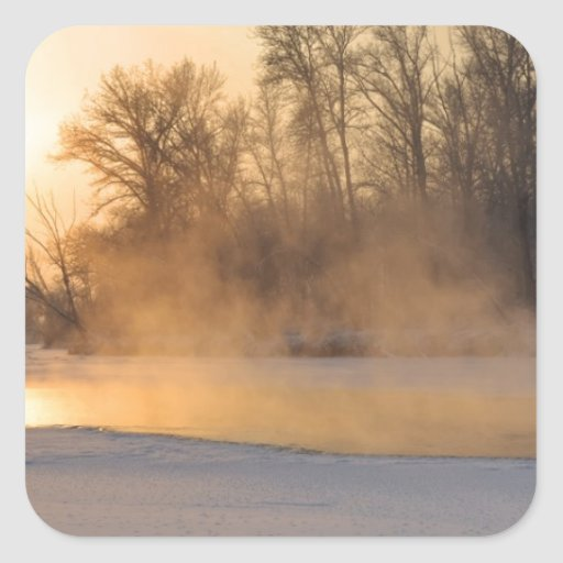 Winter Evening by the Frozen Lake Square Stickers