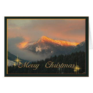 Winter evening-red on the mountains card