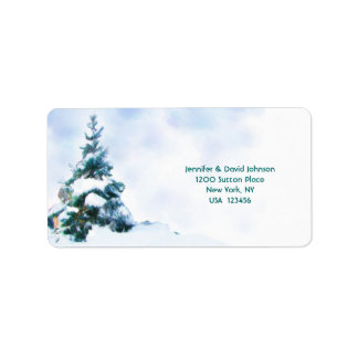 Winter Evergreen Wedding Address Label