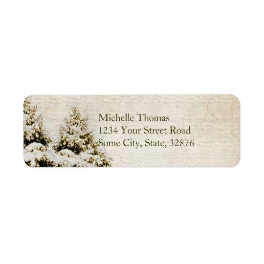 Winter Evergreens Vintage Address Label