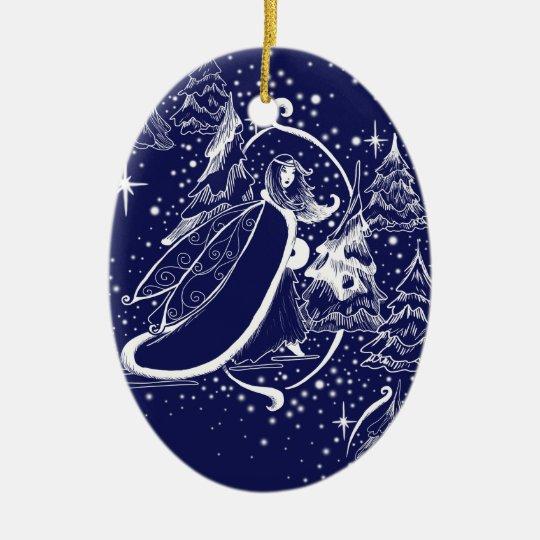 Winter fairy toile Christmas ornament