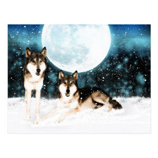 winter fantasy art wolf postcard from moonalke