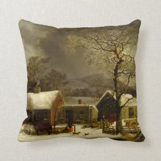 Winter Farm Painting by George Durrie Cushion