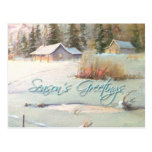 WINTER FARM & POND by SHARON SHARPE Post Cards