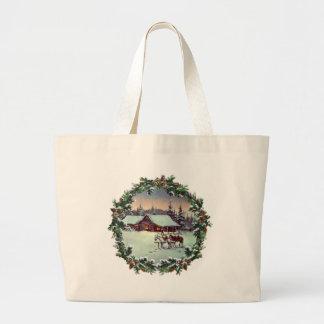 WINTER FARM & WREATH by SHARON SHARPE Jumbo Tote Bag