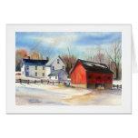 Winter Farmhouse & Red Barn Greeting Card