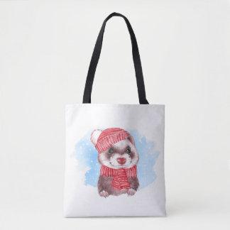 Winter ferret tote bag