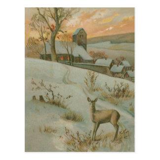 Winter Field Deer Church Snow Postcard