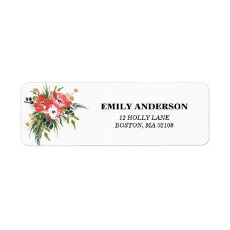 Winter Floral Address Label