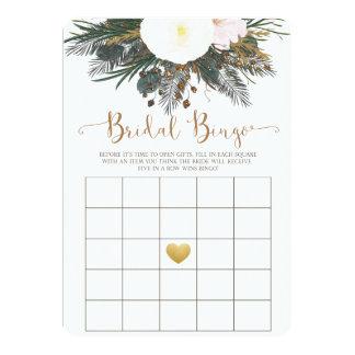 Winter Floral Bridal Shower Bingo Game 13 Cm X 18 Cm Invitation Card